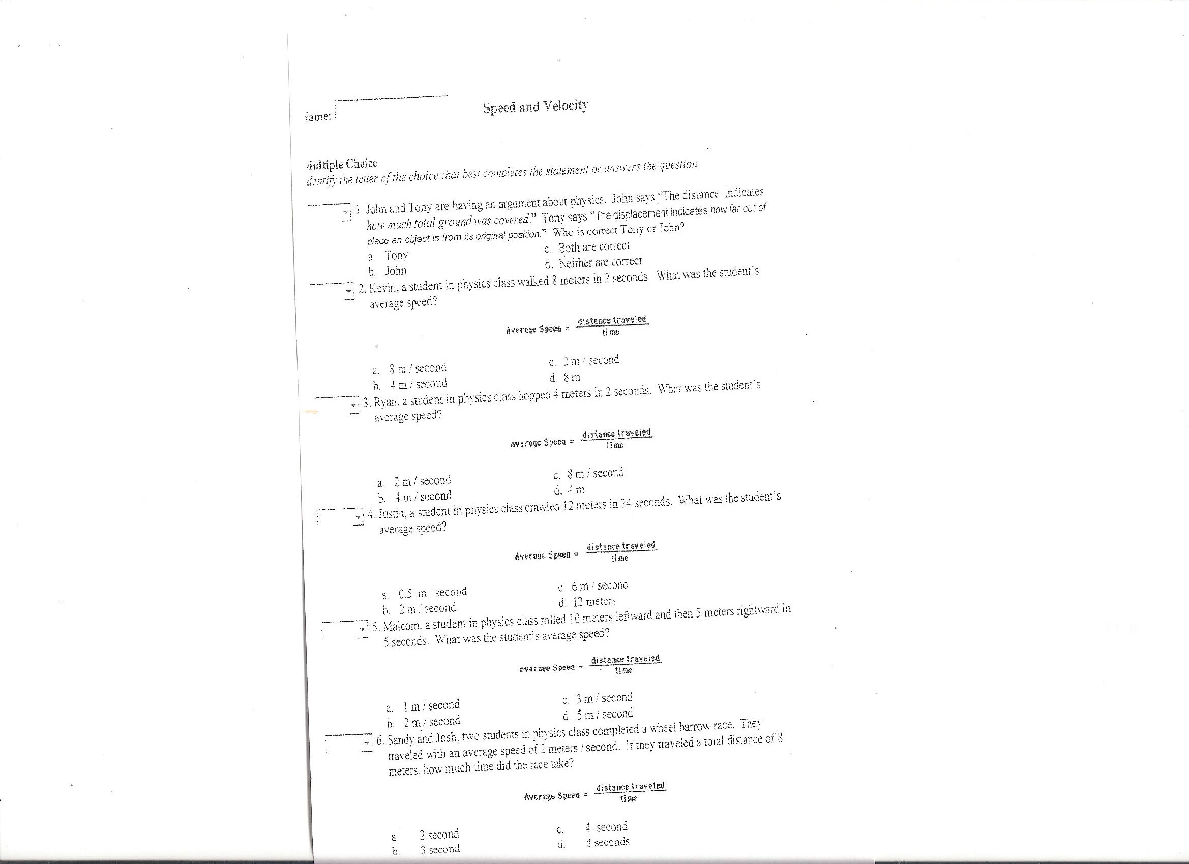 Worksheets Distance And Displacement Worksheet With Answers homework physics download file